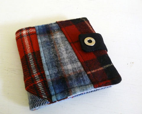 Red,and,Blue,Patchwork,Wool,Bifold,Wallet,wool bifold wallet, handmade wallet, plaid wool wallet, patchwork bifold wallet, red and blue plaid wool wallet