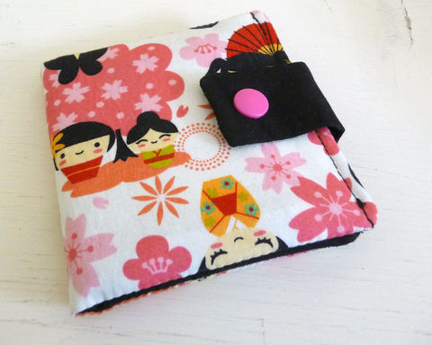 Pink,Kawaii,Cotton,Print,Wallet,vegan wallet, womens wallet, handmade wallet, girls wallet, teenage girls wallet, kawaii print wallet,