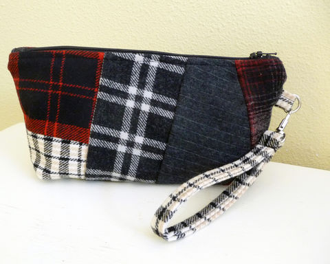 Red,and,Black,Plaid,Wool,Patchwork,Wristlet,Bag,patchwork wool wrislet, wristlet clutch bag, handmade clutch bag, handmade cell phone purse, mobile phone wristlet, red plaid wristlet, red plaid wool rain girl designs