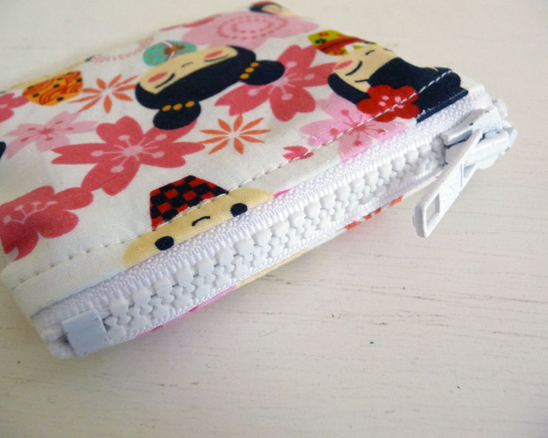 Small Asian Print Coin Purse, Pink Floral and Dolls - product images  of