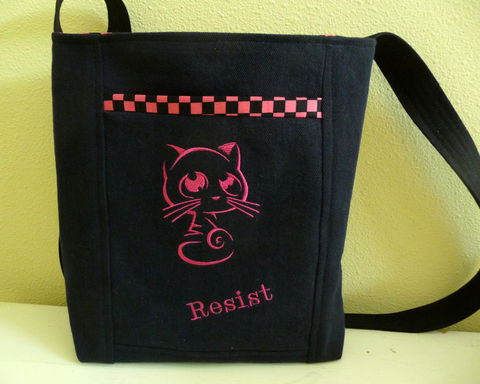 Cute,Pink,Resist,Pussy,Cat,Embroidered,Crossbody,Tote,Bag,,Small,small tote bag, resist tote bag, small crossbody bag, crossbody tote bag, pink pussy cat, pink cat, hot pink embroidered cat bag
