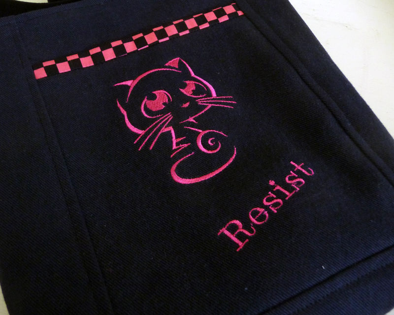 Cute Pink Resist Pussy Cat Embroidered Crossbody Tote Bag, Small - product images  of