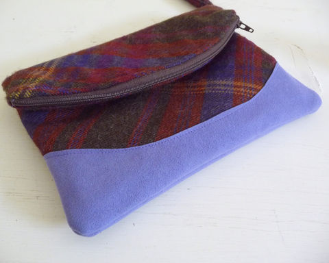 Brown,and,Purple,Plaid,Wool,Foldover,Clutch,Handbag,handmade wristlet, foldover clutch bag, foldover wristlet bag, foldover clutch, plaid foldover clutch, wool handbag, wool clutch bag