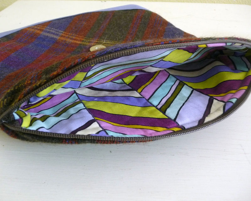 Brown and Purple Plaid Wool Foldover Clutch Handbag - product images  of