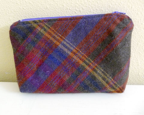 Brown,MultiColor,Plaid,Wool,Zippered,Pouch,,Cosmetics,Bag,,Toiletry,Bag,handmade zippered pouch, plaid zippered pouch, plaid wool makeup bag, small cosmetics bag, plaid wool toiletry bag, small zippered bag, borwn plaid wool bag