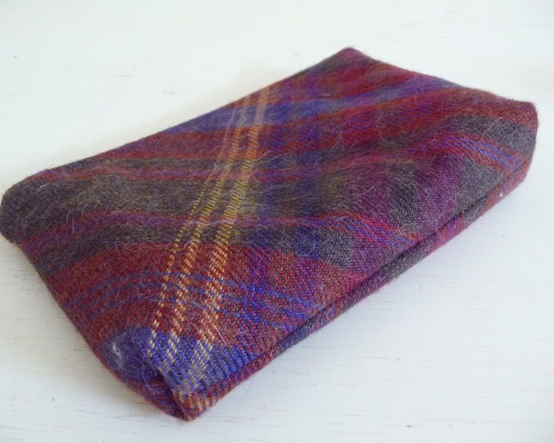 Brown MultiColor Plaid Wool Zippered Pouch, Cosmetics Bag, Toiletry Bag - product images  of