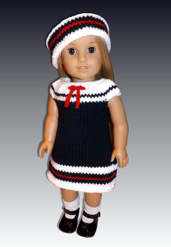 Knitting Pattern For Sailor Doll : Sailor Dress Knitting Pattern fits American Girl and 18 ...