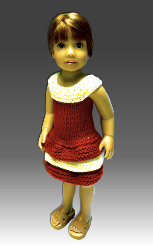 Doll Dress Knitting Pattern, Fits Kidz n Cats, 18 inch slim doll 445 - product images  of