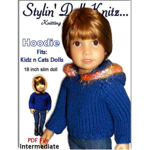 Knitting,Pattern,,Fits,Kidz,n,Cats,,18,inch,slim,doll,,Hoodie,445,knitting pattern,doll clothes knitting pattern, 18 inch slim dolls,Kidz and Cats dolls, Hoodie sweater