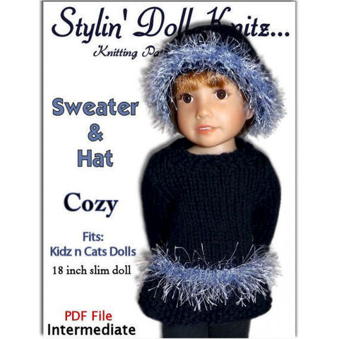 Knitting,Pattern,,Fits,Kidz,n,Cats,,18,inch,slim,doll,,Eyelash,Sweater,454,knitting pattern,doll clothes knitting pattern, 18 inch slim dolls,Kidz and Cats dolls, Eyelash sweater. Doll hat