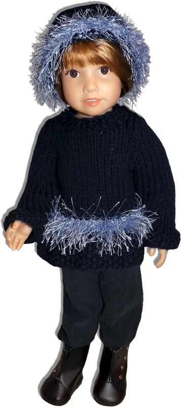 Knitting Pattern, Fits Kidz n Cats, 18 inch slim doll, Eyelash Sweater 454 - product images  of