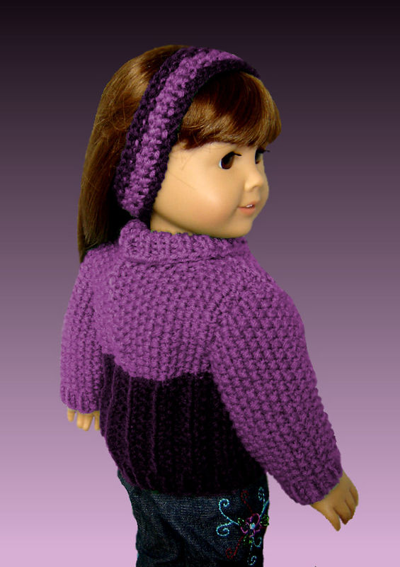 PDF Knitting pattern. Fits American Girl Doll. Seedstitch Pullover AG 001 - product images  of