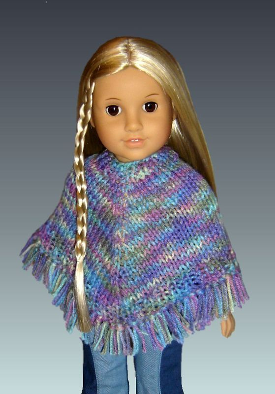 Knitting Patterns For Ag Dolls : Doll Poncho Pattern. Knitting, Fits American Girl and 18 inch Doll. PDF 015 -...