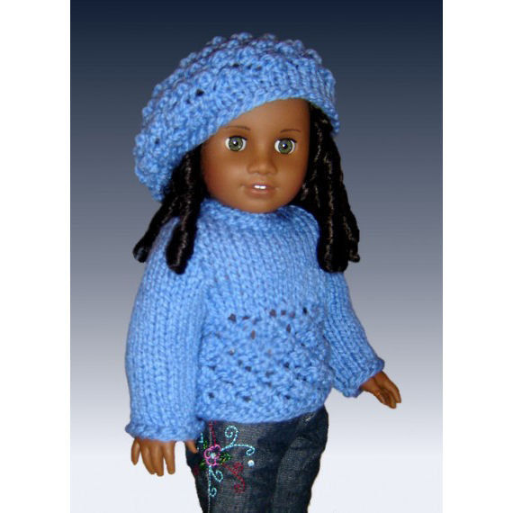 Doll Sweater and Slouchy Hat Knitting Pattern, Fits 18 inch and American girl doll. 043 - product images  of