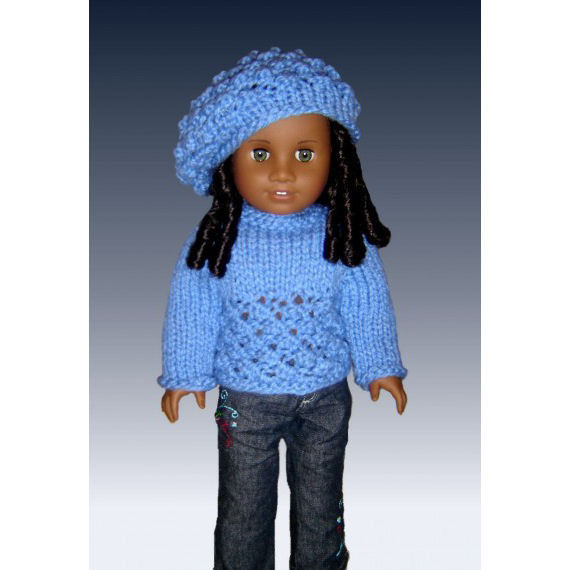 Doll Sweater and Slouchy Hat Knitting Pattern, Fits 18 inch and American girl...