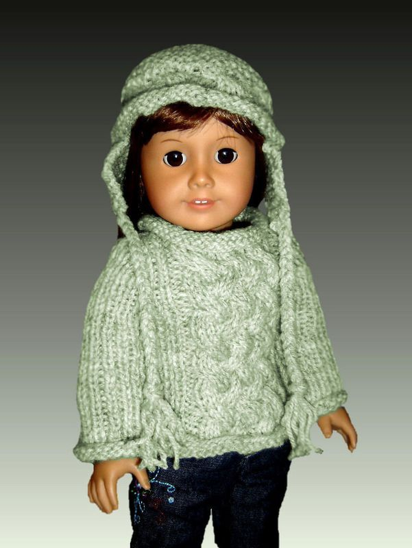Knitting Patterns For 24 Inch Dolls : Fits American Girl. Knitting pattern, AG doll Aran Sweater ...