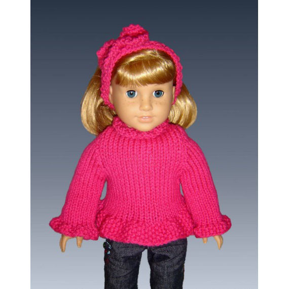 Knitting Pattern, fits American Girl and all 18 inch dolls, PDF AG clothes 042 - product images  of