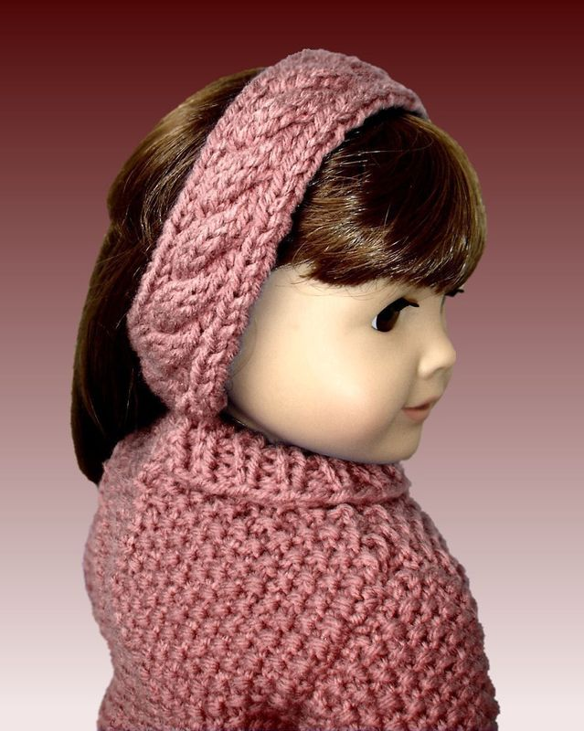 18 inch doll knitting pattern. Fits American Girl Doll. Cabled Sweater 003 - product images  of