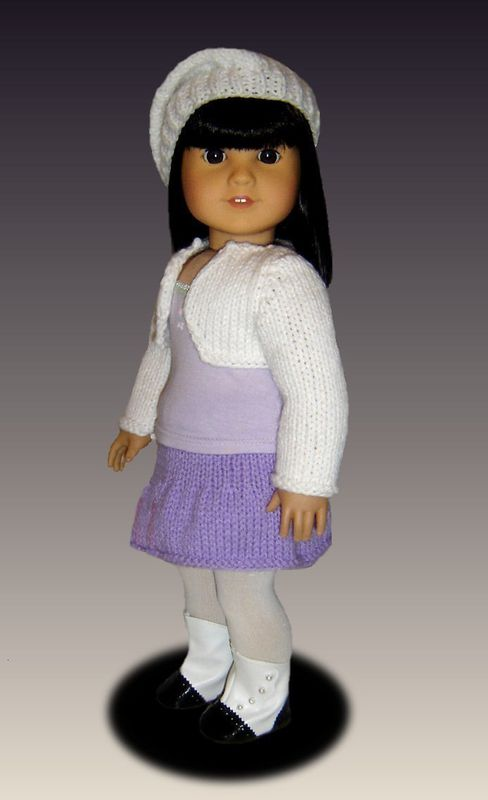 Knitting Patterns For Ag Dolls : Knitting Pattern, fits American Girl /18 inch dolls, shrug and skirt. AG 034 ...