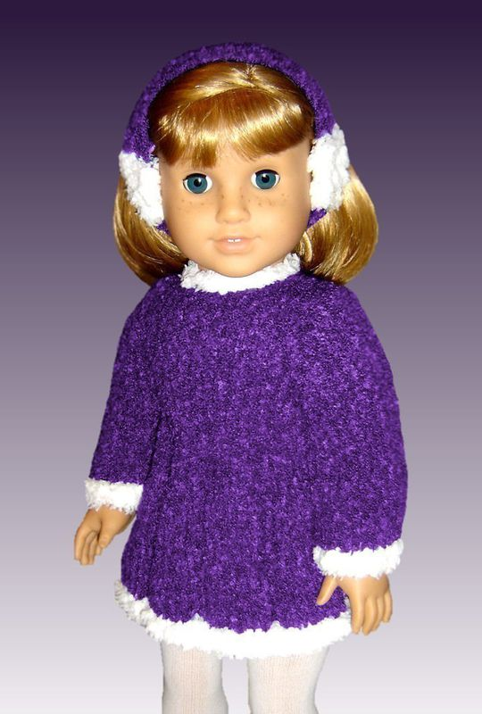 Free 18 Inch Knitted Doll Clothes Patterns : Knitting pattern. Fits American Girl Doll and 18 inch doll. Skating Dress 013...