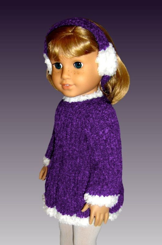Knitting pattern. Fits American Girl Doll and 18 inch doll. Skating Dress  013 - product images  of