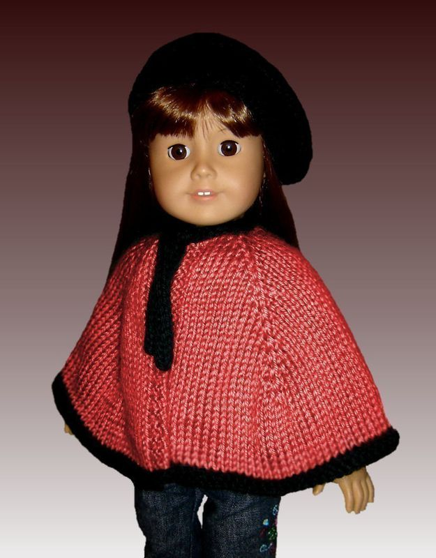 Knitting pattern, Cape and Beret. Fits American Girl. All 18 inch Dolls. PDF 018 - product images  of