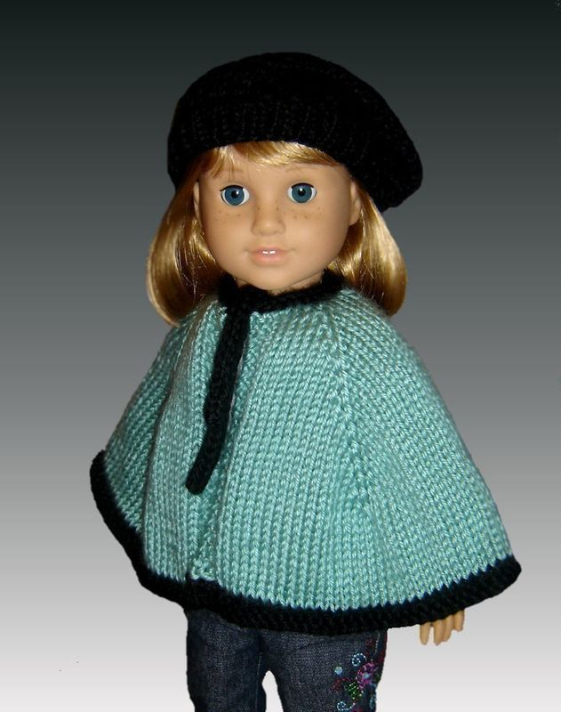 Knitting Pattern Cape And Beret Fits American Girl All 18 Inch