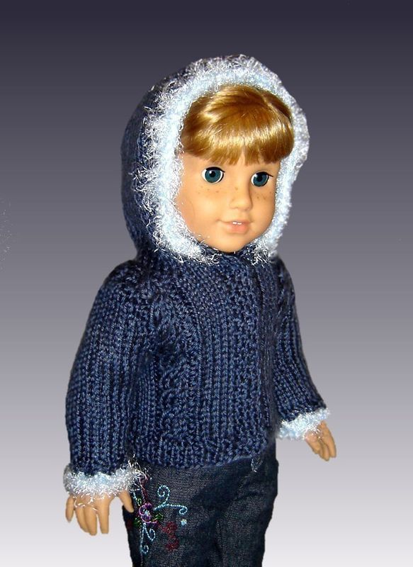 18 inch doll knitting pattern, Fits American Girl Doll. Hooded Jacket 014 - product images  of