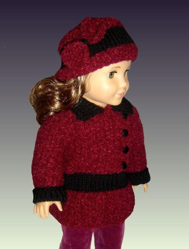 Doll Coat knitting pattern, for American Girl Doll AG, 18 inch PDF ...