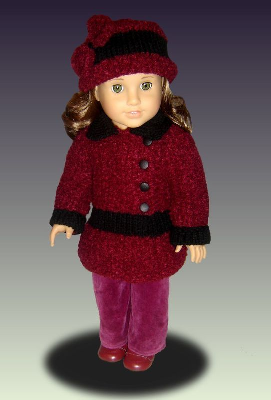 Doll Coat knitting pattern, for American Girl Doll AG, 18 inch PDF 031 - product images  of