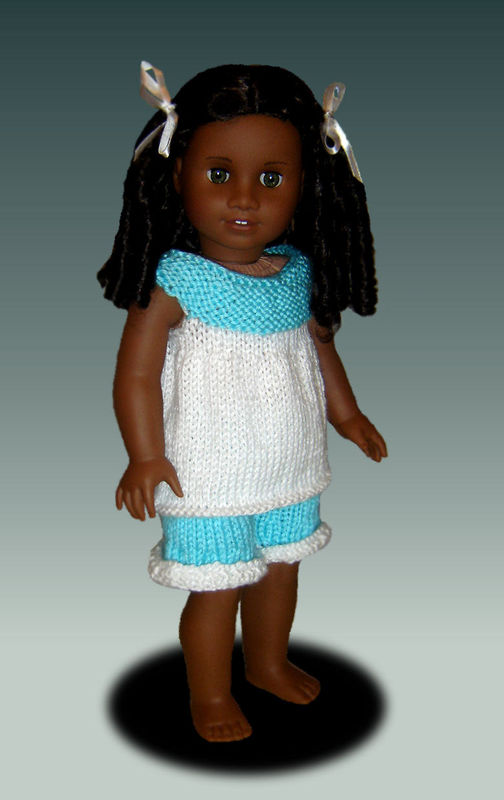 Knitting Pattern, fits American Girl and 18 inch doll. Pajamas. PDF, Gotz, 104 - product images  of