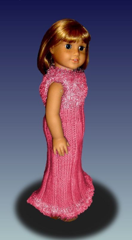 Fits American Girl Doll, AG. Party Dress knitting pattern, 18 inch. PDF 016 - product images  of