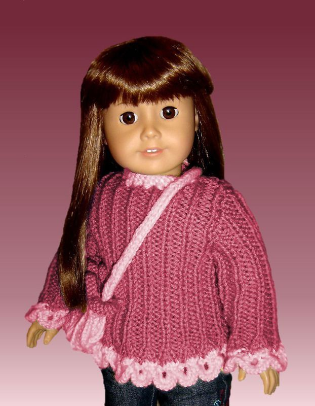 PDF Knitting pattern. Fits American Girl Doll and 18 inch. AG Sweater 006 - product images  of