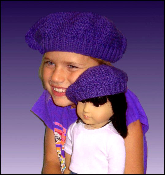 Hat Knitting Pattern Matching Girl And Doll Beret Pdf 401