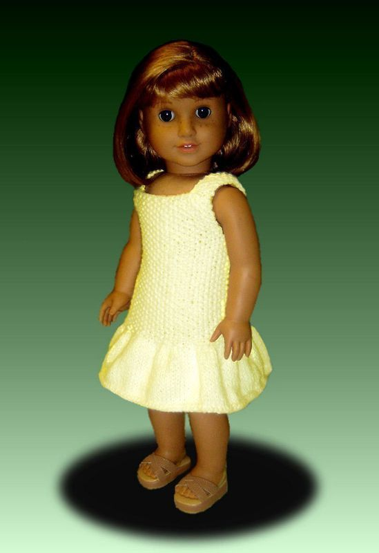 Knitting Pattern for Doll Dress and Shawl, fits American Girl Doll and 18 in. dolls. PDF AG 033 - product images  of