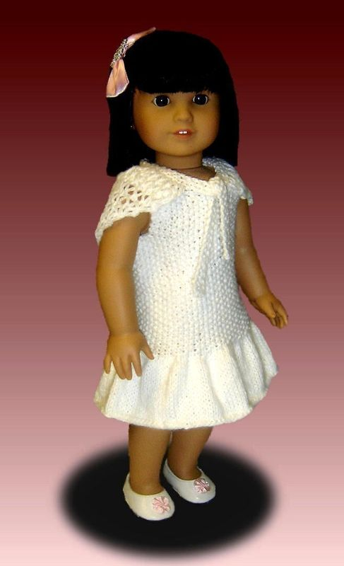 Knitting Patterns For 24 Inch Dolls : Knitting Pattern for Doll Dress and Shawl, fits American ...