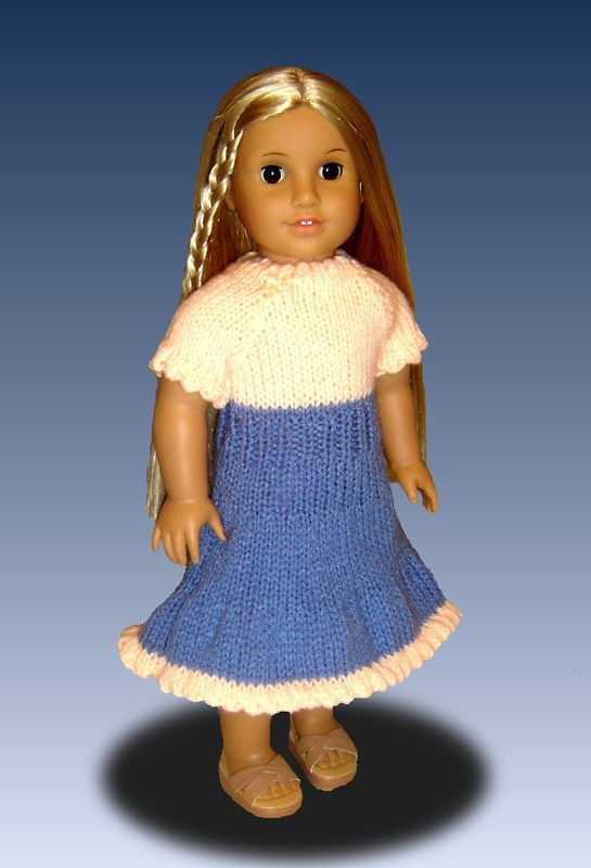 Doll Peasant Dress knitting pattern, for American Girl and 18 inch, PDF  029 - product images  of