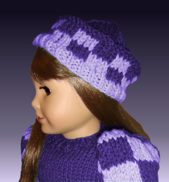 Knitting Pattern. Fits American Girl Doll. Checkered Puffed Sleeved 007 - product images  of