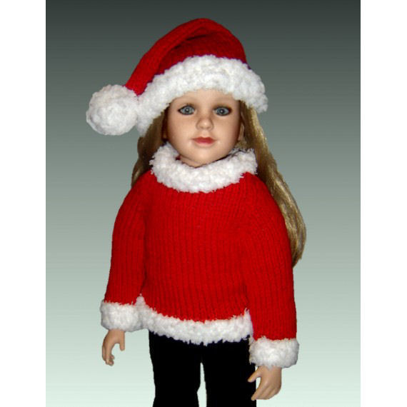 Knitting Pattern for 23 inch doll, My Twinn, My BFF, Pdf santa suit and hat. 605 - product images  of