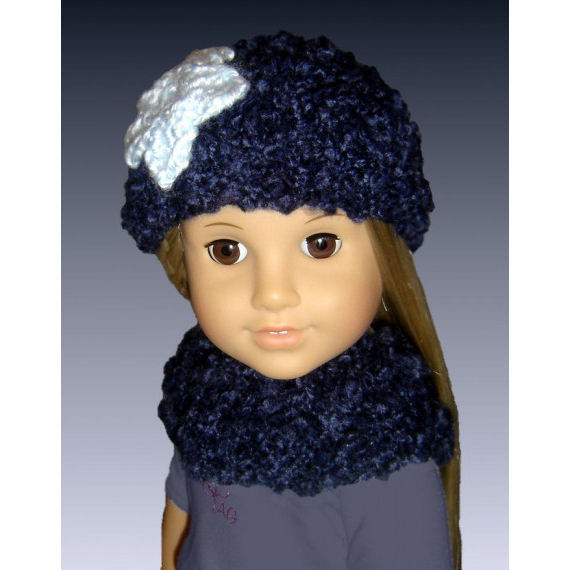 Knitting Pattern For Dolls Beanie : Knitting pattern. Girl and Doll Flower Beanie and Neck Warmer. American Girl ...