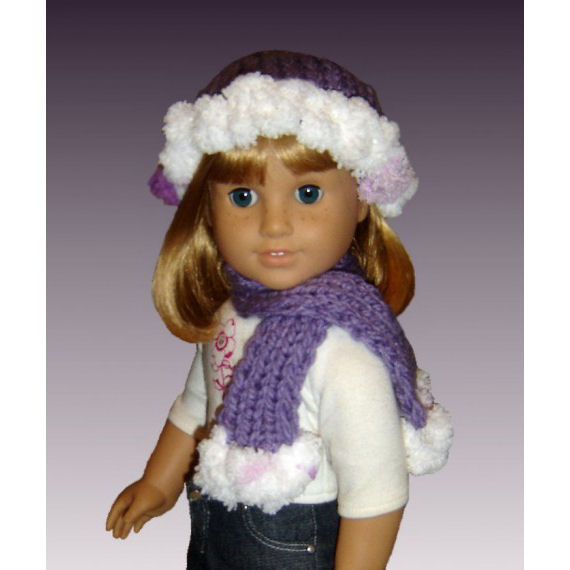 Girls Scarf Knitting Pattern : PDF Knitting pattern. PomPom Hat and Scarf. Girls and American Girl Doll, 18 ...