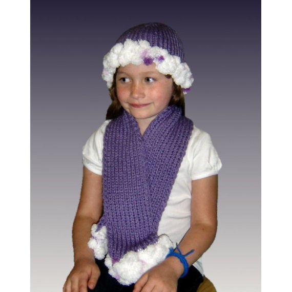 PDF Knitting pattern. PomPom Hat and Scarf. Girls and ...