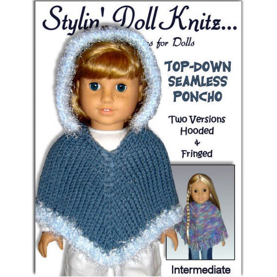 Knitting Patterns For Our Generation Doll Clothes : Doll Poncho Pattern. Knitting, Fits American Girl and 18 inch Doll. PDF 015 -...