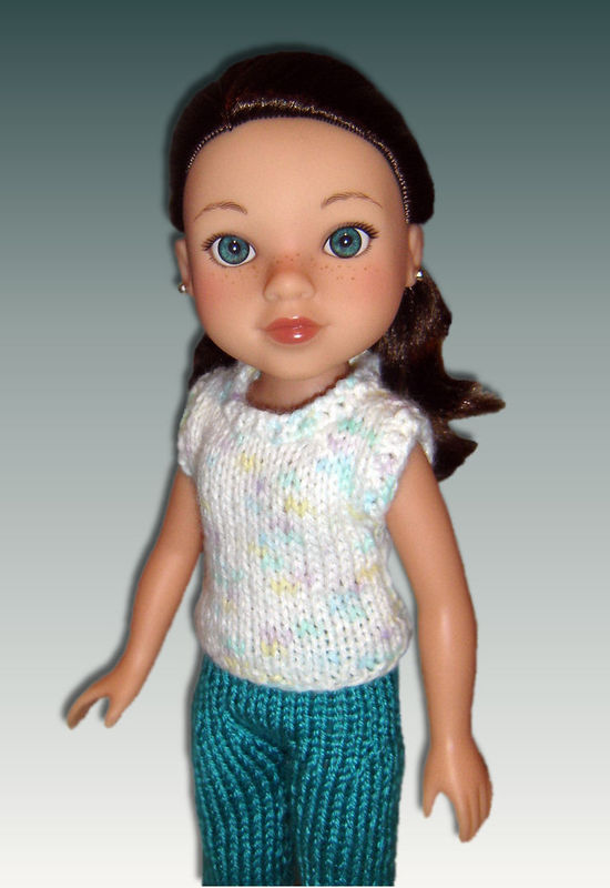 Knitting Pattern For Dolls Trousers : Knitting Pattern. Capri Pants and Top for Hearts for Hearts Dolls. 252 - Styl...
