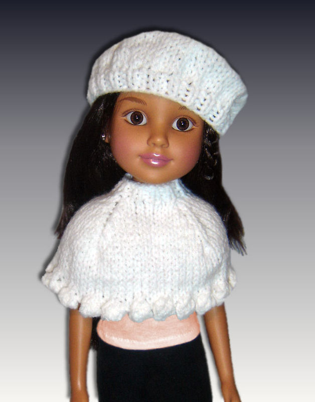 Knitting Pattern. Fits BFC, Ink Doll. 18 inch slim doll, Capelet and Beret, 7...