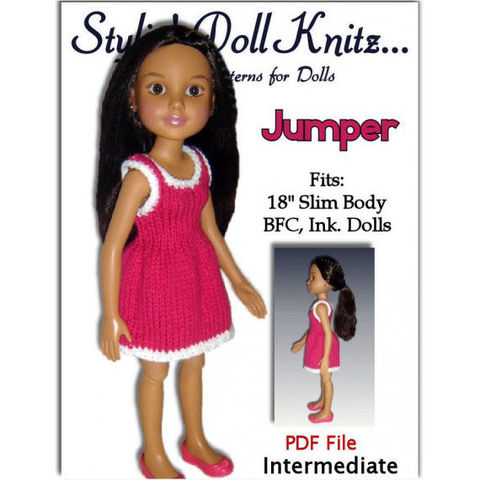 Knitting,Pattern,for,dress.,Fits,BFC,,Ink,Doll.,18',slim,doll,,751,knitting pattern,BFC Ink dolls,18 inch slim body dolls,jumper,dress,pdf knit pattern,stylindollknitz