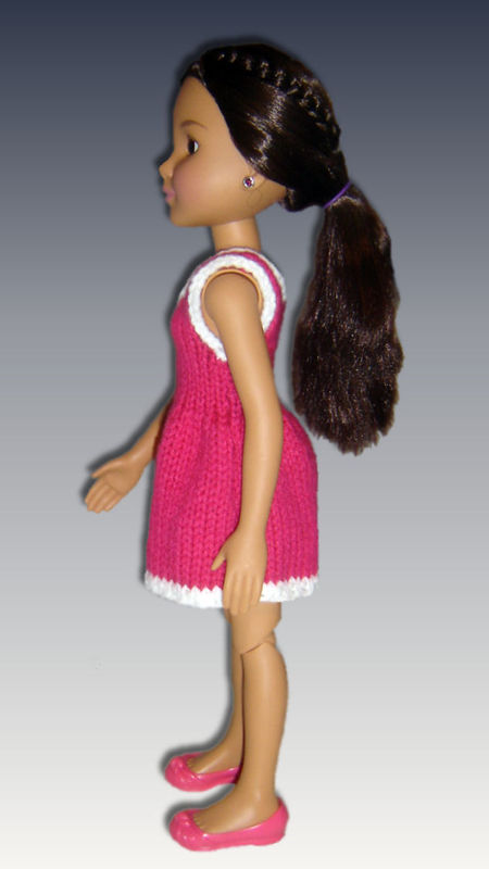 Knitting Pattern for dress. Fits BFC, Ink Doll. 18' slim doll, 751 - product images  of