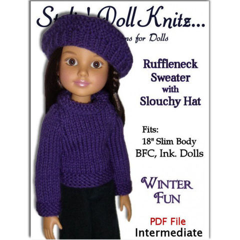 Knitting,Pattern.,Fits,BFC,,Ink,Doll.,18,slim,doll,,Sweater,and,Slouchy,Hat,704,knitting pattern,pdf knit pattern,BFC Ink dolls,18 inch slim body dolls,knit sweater,knit slouchy hat,stylindollknitz