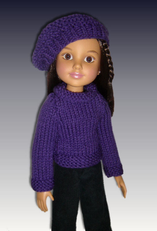 "Knitting Pattern. Fits BFC, Ink Doll. 18"" slim doll, Sweater and Slouchy Hat  704 - product images  of"