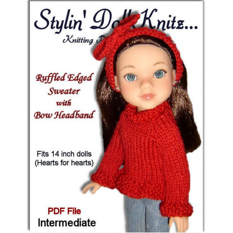Knitting,Pattern.,Sweater,fits,Hearts,for,Doll.,242,knitting pattern,pdf pattern,hearts for hearts dolls,Corelle Les Cheries doll,knit sweater,knit headband,doll clothes,stylindollknitz,14 inch dolls,13 inch dolls